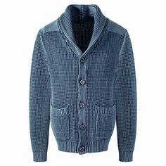 SLOWGAN/スローガン/ショールカラーニットジャケット/INDIGO【2016春夏新作】【メンズ】【ジャケット】【ショールカラー】【ニット】【デニム】【カーディガン】