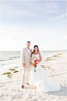 Bride and Groom classic Beach Portrait at their Tropical Beach Wedding | South Florida Wedding Photographer | Crystal Bolin Photography (79)