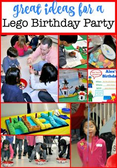 Here is a post packed with ideas on how to throw a fun Lego birthday party- complete with Lego birthday party games and a Lego birthday party cake! Birthday Party At Home, Birthday Themes For Boys, Kids Party Themes, Birthday Party Games, Birthday Party Decorations, Birthday Party Invitations, Party Ideas, Birthday Cakes, Birthday Ideas
