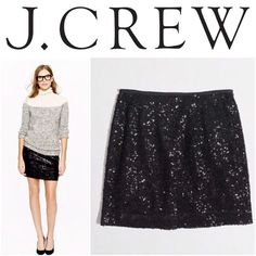 J CREW MINI SEQUIN SKIRT Black color worn once excellent condition, size 00 will fit xmall J. Crew Skirts Mini
