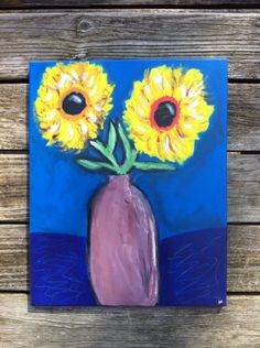 FREE SHIPPING Two Sunflowers Original Acrylic by RusticMuse, $18.00