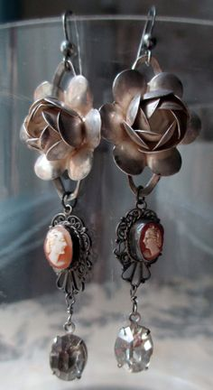 'heirloom' vintage assemblage earrings with sterling silver roses and Victorian shell cameos by The French Circus, $82.00