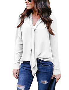 Yidarton Chemise Femme Manches Longues Top Fluide Casual Chic Classique  Blouse (Blanc X-Large 654a324fe5a