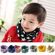 Lovely Kids Baby Shawl Girls Boys Cotton Snood Scarf Neckerchief Knitting Stars Print Warmer Collar at Banggood