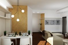 Apartment renovation - Dining and Living render Apartment Renovation, Conference Room, House Design, Dining, Table, Furniture, Home Decor, Food, Decoration Home