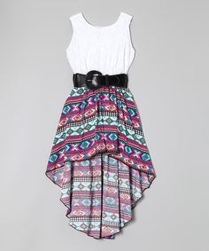 Another great find on #zulily! Pink Tribal Belted Hi-Low Dress - Girls by Maya Fashion #zulilyfinds