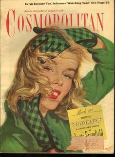 Cosmopolitan, March 1947 Cover art by Coby Whitmore Vintage Advertisements, Vintage Ads, Vintage Prints, Vintage Paintings, Old Magazines, Vintage Magazines, Quote Collage, Pin Up, Cosmopolitan Magazine