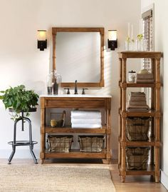 Bathroom Sinks Design Layout with Framed Mirrors and Solid Wood Vanity Unit