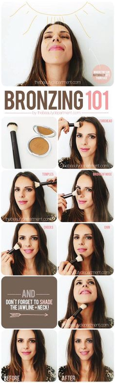 How to apply bronzer. Need a good bronzer? Younique has just started selling one! Get Beachfront Bronzer today! www.youniqueprodu... http://crazymakeupideas.com/6-simple-steps-to-wash-your-hair-with-shampoo/