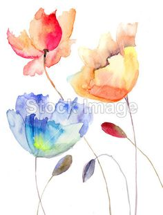 Watercolor Flower Decor Summer Flowers In Retro Style Painting Effect Nature is A Blessing Art Pink Yellow Blue Dining Room Kitchen Rectangular Table Cover Home Deco Watercolor Cards, Watercolor Illustration, Watercolor Flowers, Tattoo Watercolor, Art Floral, Summer Flowers, Blooming Flowers, Tropical Flowers, Colorful Flowers