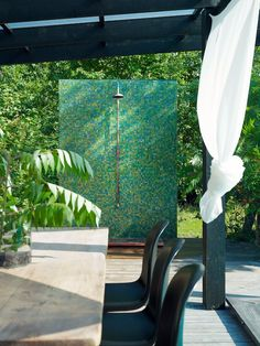 modern outdoor showers - green mosaic tile wall with rain shower head, industrial valve and copper base - Richard Lindvall via Atticmag Indoor Outdoor Living, Outdoor Spaces, Green Mosaic Tiles, Dwell On Design, Swedish Interiors, Exterior, Modern Interior Design, Wall Tiles, Outdoor Showers