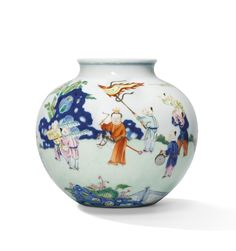 A FINE AND VERY RARE FAMILLE ROSE 'BOYS' JAR, QIANLONG SIX-CHARACTER SEAL MARK IN UNDERGLAZE BLUE AND OF THE PERIOD (1736-1795)