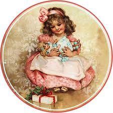 Girl and dolls Vintage Ephemera, Vintage Cards, Vintage Postcards, Christmas Tag, Christmas Pictures, Vintage Christmas, Xmas, Images Vintage, Vintage Pictures