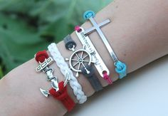 Antique Silver Bracelet, Cross bracelet, Wheel Bracelet, Anchor Bracelet, Everyday Bracelet- Choose Your Anchor and Color