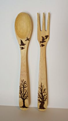 Salad Server Set Wooden Spoon and Fork Woodburned. I like this set & I could see this being continued onto a set of matching sala bowls too ;)