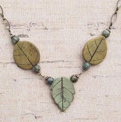 Three Leaves Polymer Pendant Necklace by DandyBeads on Etsy, $22.00
