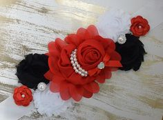 Red Black and White Maternity Sash/ Lace Sash/ Pregnancy