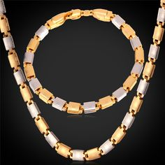 Jewelry Sets Two Tone Jewelry Choker Necklace Bracelet For Men/Women Wholesale Jewelry gold Plated Necklace Set PE076