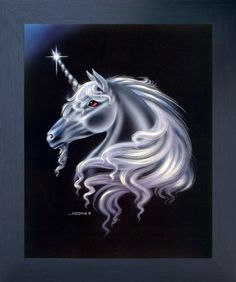 Add this wonderful moon wind unicorn horse Sue Dawe fantasy framed art poster to your home which will bring unique character and charm to your home. This framed art poster displays the image of Unicorn horse face with a silver spiral horn growing out of the middle of its forehead is sure to catch lot of attention. The wooden espresso frame of this poster will beautifully highlight the print of the poster. The frame is made from solid wood measuring 20x24 inches with a smooth gesso finish.
