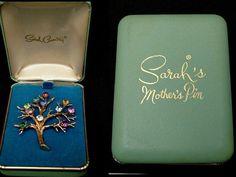 Vintage Sarah Coventry MOTHER'S PIN in Original Box 1960s Swarovski Austrian Rhinestones
