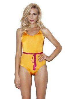Fuchsia cross tied, pop orange one piece swimwear. #5pmswimwear #luxuryswimwear #onepiece #orange #crossback #swimwear #summer