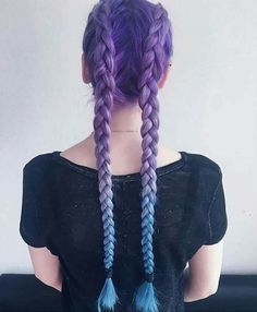 Pretty Braided Hair Colored Purple And Blue