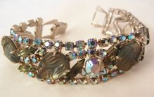 November sale many items reduced from 20 to 60% off Visit my Ruby Plaza Shop Link on home page Show stopper Bold Givre frosted Glass peacock rhinestone Scroll clasp Vintage Bracelet