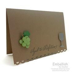 Birthday Card  Grape  Wine  Handmade by EmbellishbyJackie on Etsy, $3.00