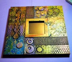 Beautiful Mirror Eileen's Crafty Zone: Inka Gold Paints For Another Altered Art Ikea Mirror Project. Altered Canvas, Altered Art, Altered Tins, Mixed Media Canvas, Mixed Media Collage, Metal Tape Art, Marco Ikea, Inka Gold, Ikea Mirror