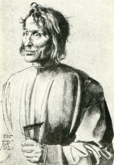 Albrecht Düre. Study of an Architect (1506). Brush and ink heightened with white on paper, 386 x 262 mm. Staatliche Museen, Berlin