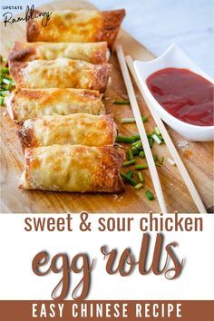 Skip takeout and make egg rolls at home! These sweet and sour chicken egg rolls are have classic sweet and sour chicken rolled up in an egg roll wrapper. Cooked in the air fryer you can make homemade crispy egg rolls without deep frying. Dip in sweet and sour sauce for an easy better than takeout treat.