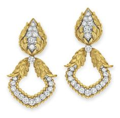 A PAIR OF DIAMOND AND GOLD EAR PENDANTS, BY DAVID WEBB