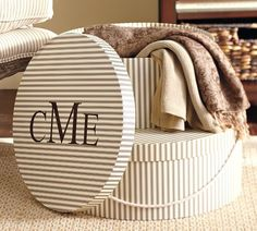 Mongrammed Striped Hat Boxes! Chic storage option from Pottery Barn