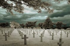 American Cemetery at Normandy, France (Infrared) by A. J. Marcella    Read more: http://digital-photography-school.com/travel-photography-inspiration-project-