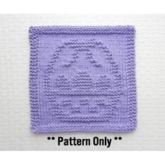 Knit Dishcloth pattern for Easter Basket by Aunt Susan's Closet. Dishcloth Knitting Patterns, Knit Dishcloth, Easter Baskets, Hostess Gifts, Aunt, Squares, Knit Crochet, Crafty, Blanket
