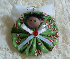 Homemade Angel Christmas Ornaments | Christmas Angel Pin Handmade Fabric Yoyo by HillbillyLaceEtc