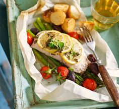 Fish with lemon, olive and tomato en papillote recipe - Better Homes and Gardens - Yahoo!7