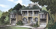 House Plan 58977 - Florida Style House Plan with 5085 Sq Ft, 5 Bed, 5 Bath, 2 Car Garage Southern Plantation Style, Plantation Homes, Florida Style, Florida Home, Best House Plans, Country House Plans, Greek Revival Architecture, Architecture Design, Florida House Plans