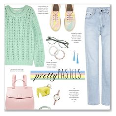 """""""Pretty Pastels"""" by kellylynne68 ❤ liked on Polyvore featuring Gestuz, STELLA McCARTNEY, Nico Giani, Yves Saint Laurent, Loewe, EyeBuyDirect.com, FOSSIL, Topshop, Kate Spade and NOVICA"""