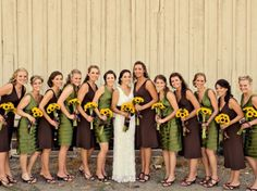 Nice sunflower color combo. Must say that is really a lot of wedding attendants though.