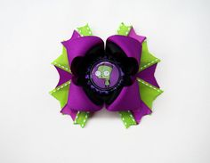 Purple Green I/'d Rather Be A Mermaid Bottle Cap Hair Bow 5/""