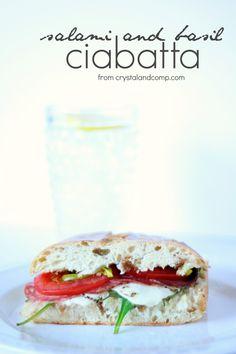 easy recipe: salami and basil cibatta