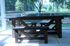 cypress providence table for screened porch | Do It Yourself Home Projects from Ana White
