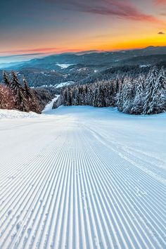 Ski Run, Pamporovo winter resort, Bulgaria. Pamporovo is a popular ski resort in Smolyan Province, southern Bulgaria, one of the best-known in Southeastern Europe. It is set amongst magnificent pine forests and is primarily visited during the winter for skiing and snowboarding.
