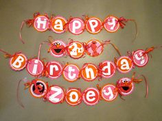 Elmo Birthday Banner in pink orange and red by PurpleZebraPaperCo, $28.00