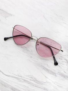 c738dbad6da0 Glasses · Oval Shaped Flat Lens Sunglasses