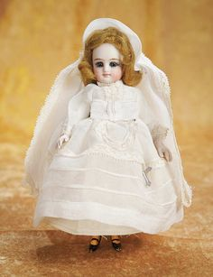 The Empress and the Child - Antique Dolls:  German All-Bisque Mignonette in Original Communion Costume