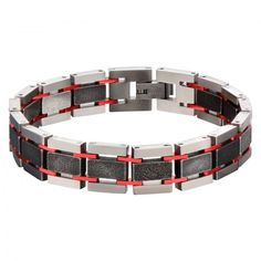 Men's Stainless Steel Dark Red With Black Oxidized Links Bracelet