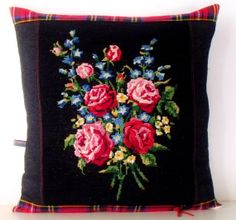 French Unique Vintage Needlepoint Tapestry Rose by Retrocollects,