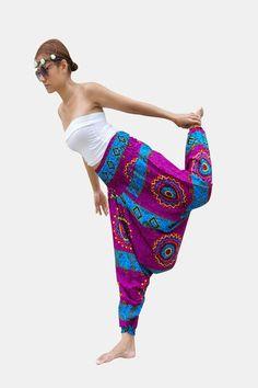 Thai Harem Pants Women Jumpsuit Purple African Tribal Print